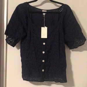NWT lacy button up top!